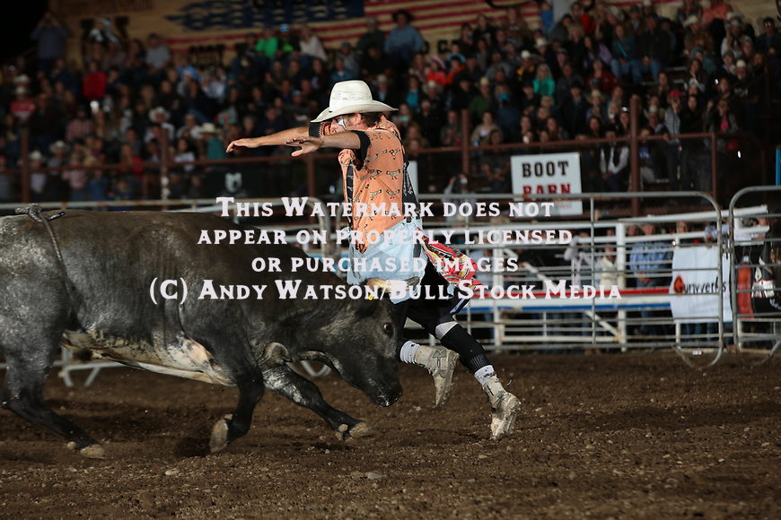 Beau Schueth for BullFighters Only during the PRCA XTreme Bulls. Photo by Andy Watson. All Photos (C) Watson Rodeo Photos, INC. Any use must have written Permission.