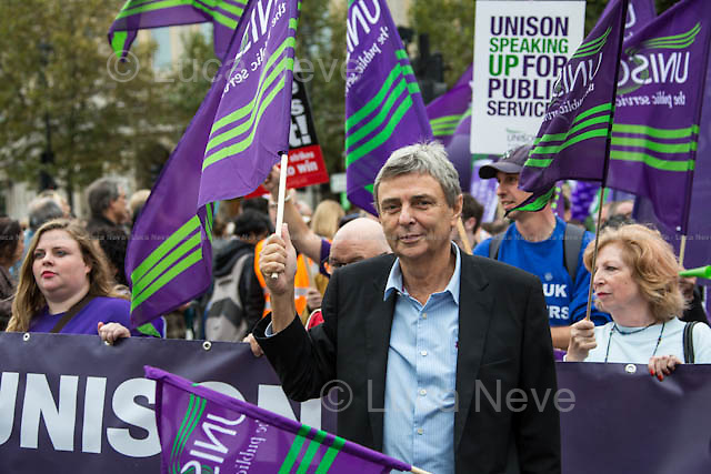 Dave Prentis (General Secretary of UNISON).<br /> <br /> London, 18/10/2014. Today, more than 100,000 people gathered in central London to attend the TUC's march called &quot;Britain Needs A Pay Rise&quot;. The aim of the demonstration was to support the Trades Union Congress campaign to raise the minimum wage, give higher wages to employees, to finally commit to put in place the &quot;Living Wage&quot; and to fight the constantly rising inequality. The demonstration was supported by all the major British Trade Unions. It started on Victoria Embankment and ended with a rally in Hyde Park.<br /> <br /> For more information please click here: http://bit.ly/1kH8C9H