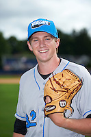 Hudson Valley Renegades pitcher J.D. Busfield (32) poses for a photo before a game against the Batavia Muckdogs on July 31, 2016 at Dwyer Stadium in Batavia, New York.  Hudson Valley defeated Batavia 4-1.  (Mike Janes/Four Seam Images)