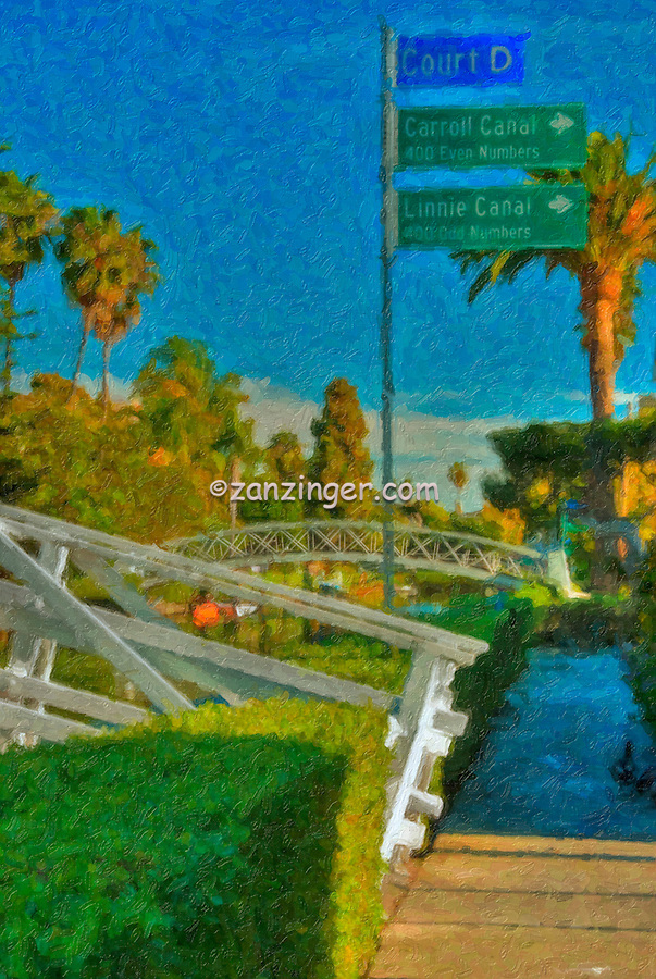 Venice, Carroll & Linnie Canal Sign, Digital oil painted texture,  Beautiful, Unique