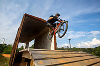 NWA Democrat-Gazette/JASON IVESTER<br /> Josh Woodmancy (cq) of Rogers rides the course on Wednesday, Aug. 31, 2016, at the Railyard. The mountain bike course is approaching its one-year anniversary.