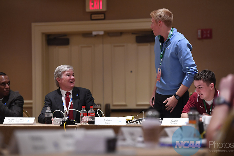 17 JAN 2017:  The NCAA Division III SAAC meeting takes place during the 2017 NCAA Convention takes place at the Gaylord Opryland Resort & Convention Center in Nashville, TN. Justin Tafoya/NCAA Photos (Pictured: Mark Emmert and Sean Cain)