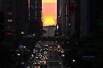 "Sunset In NYC during phenomenon known as ""Manhattanhenge"