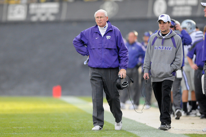 NOVEMBER 20, 2010: Kansas State head coach Bill Snyder  during a Big XII conference game between the Kansas State Wildcats and the University of Colorado Buffaloes at Folsom Field in Boulder, Colorado. The Buffaloes beat the Wildcats 44-36. *****For editorial use only*****
