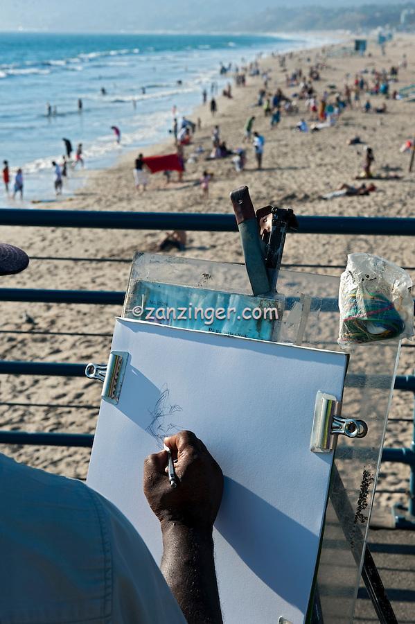 Santa Monica CA Pier, Caricature Artist, Beach, Ocean Waves