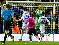 Leeds United's Bailey Peacock-Farrell makes a save in the second half, under pressure from Queens Park Rangers' Luke Freeman<br /> <br /> Photographer Alex Dodd/CameraSport<br /> <br /> The EFL Sky Bet Championship - Leeds United v Queens Park Rangers - Saturday 8th December 2018 - Elland Road - Leeds<br /> <br /> World Copyright &copy; 2018 CameraSport. All rights reserved. 43 Linden Ave. Countesthorpe. Leicester. England. LE8 5PG - Tel: +44 (0) 116 277 4147 - admin@camerasport.com - www.camerasport.com