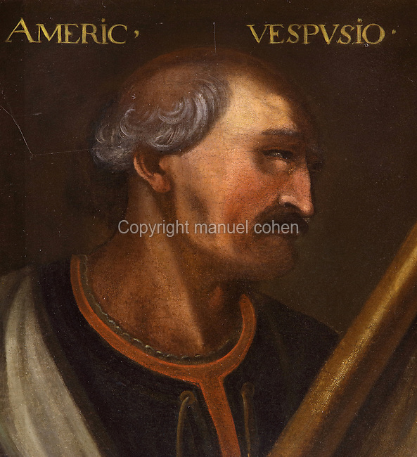 Portrait of Amerigo Vespucci, Italian explorer, 1454-1512, in the Galerie des Illustres or Gallery of Portraits, early 17th century, in the Chateau de Beauregard, a Renaissance chateau in the Loire Valley, built c. 1545 under Jean du Thiers and further developed after 1617 by Paul Ardier, Comptroller of Wars and Treasurer, in Cellettes, Loir-et-Cher, Centre, France. The Gallery of Portraits is a 26m long room with lapis lazuli ceiling, Delftware tiled floor and decorated with 327 portraits of important European figures living 1328-1643, in the times of Henri III, Henri IV and Louis XIII. The chateau is listed as a historic monument. Picture by Manuel Cohen