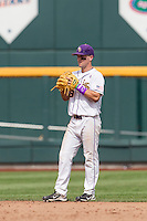 LSU Tigers shortstop Alex Bregman (8) against the TCU Horned Frogs in the NCAA College World Series on June 14, 2015 at TD Ameritrade Park in Omaha, Nebraska. TCU defeated LSU 10-3. (Andrew Woolley/Four Seam Images)