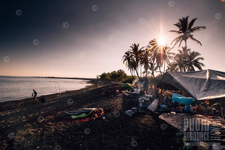 Beach camping along the western coast of Hawai'i Island.