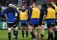The Bath Rugby team huddle together during the pre-match warm-up. Heineken Champions Cup match, between Stade Toulousain and Bath Rugby on January 20, 2019 at the Stade Ernest Wallon in Toulouse, France. Photo by: Patrick Khachfe / Onside Images