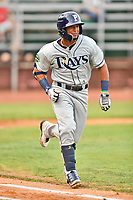 Princeton Rays shortstop Wander Franco (6) runs to first base during game two of the Appalachian League Championship Series against the Elizabethton Twins at Joe O'Brien Field on September 5, 2018 in Elizabethton, Tennessee. The Twins defeated the Rays 2-1 to win the Appalachian League Championship. (Tony Farlow/Four Seam Images)