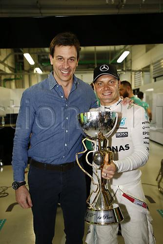 April 30th 2017, Sochi, Russia;  FIA Formula One World Championship 2017, Grand Prix of Russia, Race winner #77 Valtteri Bottas (FIN, Mercedes AMG Petronas) with boss Toto Wolff (AUT, Mercedes AMG Petronas Formula One Team)