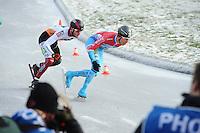 SCHAATSEN: NOORDLAREN: 18-01-2017, IJsvereniging De Hondsrug, de eerste marathon op natuurijs van 2017, Daan Besteman (#67), Jorrit Bergsma (#13), ©foto Martin de Jong