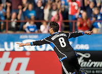 Chris Wondolowski of Earthquakes celebrates after scoring a goal during the game against Whitecaps at Buck Shaw Stadium in Santa Clara, California on April 7th, 2012.  San Jose Earthquakes defeated Vancouver Whitecaps, 3-1.