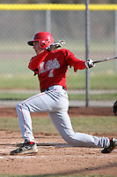 April 5, 2009:  Outfielder Cody Elliott (1) of the Ball State Cardinals during a game at Amherst Audubon Field in Buffalo, NY.  Photo by:  Mike Janes/Four Seam Images