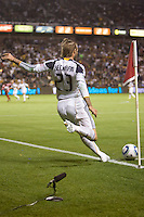 LA Galaxy midfielder David Beckham lines up a cornerkick. FC Dallas defeated the LA Galaxy 3-0 to win the Western Division 2010 MLS Championship at Home Depot Center stadium in Carson, California on Sunday November 14, 2010.