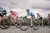 Hugo Hofstetter (FRA/Cofidis) and Mikhel Räim (EST/Israël Cycling Academy) riding the cobbles. <br /> <br /> <br /> 2nd Elfstedenronde 2018<br /> 1 day race: Brugge - Brugge 196.3km