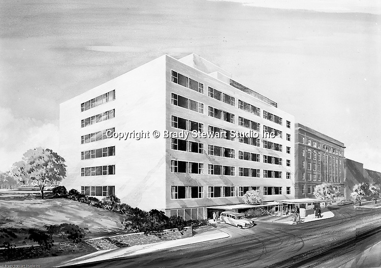 Pittsburgh PA:  Studio photography of a rendering commissioned by Carnegie Tech in Pittsburgh - 1955. View of a proposed apartment building on campus.  Assignment was done for Mr James Robertson at the Department of Archaeology at Carnegie Tech.