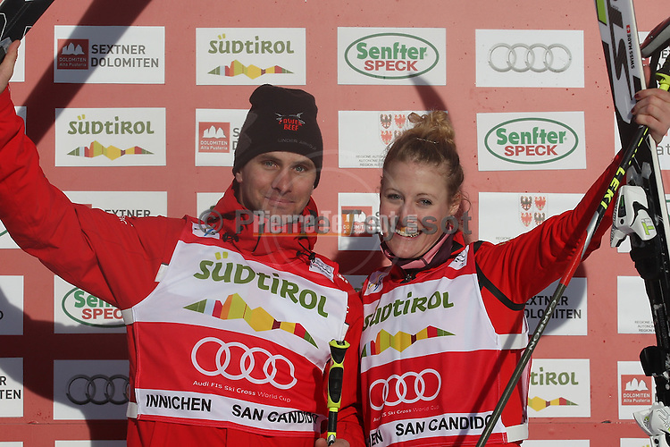 SKI-CROSS-WC-MEN-SAN CANDIDO.. Armin NIEDERER, Fanny SMITH on 23/12/2012 in San Candido / Innichen, Italy. ..© Pierre Teyssot