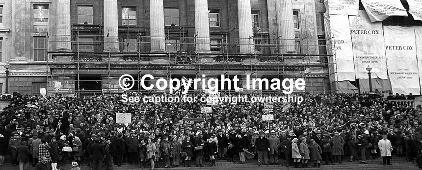 Unionist supporters protesting in front of Parliament Buildings, Stormont, N Ireland, UK, about the deteriorating security situation. This follows the visit to London by N Ireland Prime Minister James Chichester-Clark where he met with the Conservative Party Prime Minister Edward Heath. The following day Chichester-Clark resigned as PM and was succeeded by Brian Faulkner. 18th March 1971. 197103180163a<br /> <br /> Copyright Image from Victor Patterson,<br /> 54 Dorchester Park, <br /> Belfast, UK, BT9 <br /> <br /> t1: +44 28 9066 1296 (from Rep of Ireland 048 90661296)<br /> t2: +44 28 9002 2446 (from Rep of Ireland 048 9002 2446)<br /> <br /> m: +44 7802 353836<br /> <br /> e: victorpatterson@me.com<br /> www.victorpatterson.com<br /> <br /> Please see my Terms and Conditions of Use at www.victorpatterson.com. It is IMPORTANT that you familiarise yourself with them.<br /> <br /> Images used on the Internet must be visibly watermarked i.e. &copy; Victor Patterson<br /> within the body of the image and copyright metadata must not be deleted. Images <br /> used on the Internet have a size restriction of 4kbs and will be chargeable at current<br />  NUJ rates unless agreed otherwise.<br /> <br /> This image is only available for the use of the download recipient i.e. television station, newspaper, magazine, book publisher, etc, and must not be passed on to any third <br /> party. It is also downloaded on condition that each and every usage is notified within 7 days to victorpatterson@me.com<br /> <br /> The right of Victor Patterson to be identified as the author is asserted in accordance with The Copyright Designs And Patents Act (1988). All moral rights are asserted.