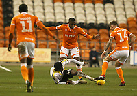 Burton Albion's Devante Cole is tackled by Blackpool's Harry Pritchard<br /> <br /> Photographer Stephen White/CameraSport<br /> <br /> The EFL Sky Bet League One - Blackpool v Burton Albion - Saturday 24th November 2018 - Bloomfield Road - Blackpool<br /> <br /> World Copyright © 2018 CameraSport. All rights reserved. 43 Linden Ave. Countesthorpe. Leicester. England. LE8 5PG - Tel: +44 (0) 116 277 4147 - admin@camerasport.com - www.camerasport.com