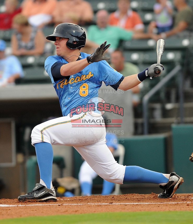 Infielder Jordan Kreke (8) of the Myrtle Beach Pelicans at a game against the Potomac Nationals on Aug. 7, 2010, at BB&T Coastal Field in Myrtle Beach, S.C. Photo by: Tom Priddy/Four Seam Images