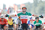 Elia Viviani (ITA) Quick-Step Floors wins Stage 10 of the La Vuelta 2018, running 177km from Salamanca to Fermoselle. Bermillo de Sayago, Spain. 4th September 2018.<br /> Picture: Unipublic/Photogomezsport | Cyclefile<br /> <br /> <br /> All photos usage must carry mandatory copyright credit (&copy; Cyclefile | Unipublic/Photogomezsport)