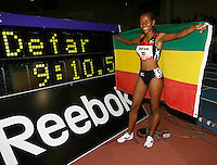 Meseret Defar of Ethiopia, set the World Record in the Women's 2 Mile Run with a time of 9:10.50sec. at the Reebok Boston Indoor Games at the Reggie Lewis Track & Athletic Center on Saturday, January 26, 2008. Photo by  Errol Anderson,The Sporting Image..