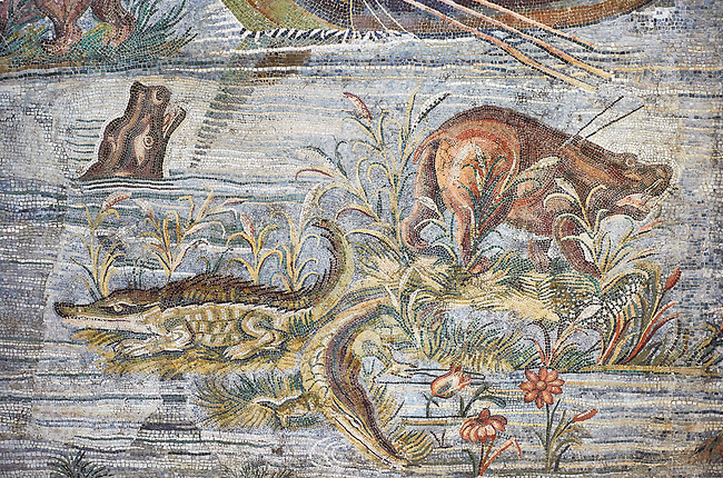 Detail picture of hippo and crocodiles on the  Nile  from the famous Roman Hellenistic Nilotic landscape Roman Palestrina Mosaic or Nile mosaic , 1st or 2nd century BC.Palestrina of the Museo Archeologico Nazionale di Palestrina Prenestino  (Palestrina Archaeological Museum), Palestrina, Italy.