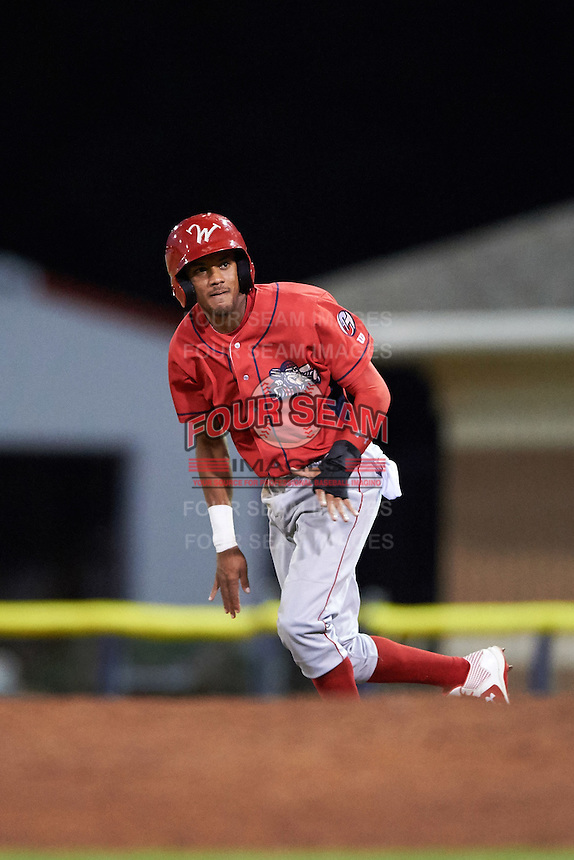 Williamsport Crosscutters left fielder Jesus Alastre (5) goes to second base on the pitch during a game against the Batavia Muckdogs on September 2, 2016 at Dwyer Stadium in Batavia, New York.  Williamsport defeated Batavia 9-1. (Mike Janes/Four Seam Images)