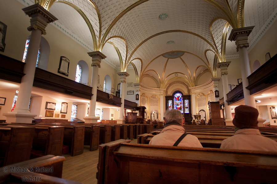 Inside the main anglican church in Quebec City, Quebec, canada.
