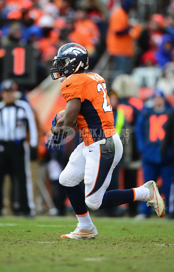 Jan 12, 2013; Denver, CO, USA; Denver Broncos running back Knowshon Moreno (27) against the Baltimore Ravens during the AFC divisional round playoff game at Sports Authority Field.  Mandatory Credit: Mark J. Rebilas-