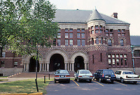 H. H. Richardson: Austin Hall, Harvard, 1881. South elevation. The Law School--Romanesque.