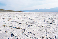 Death Valley National Park, California, CA, USA - Salt Flats at Badwater Basin and the Panamint Mountains - Lowest Elevation in North America (282 ft / 86m below sea level)