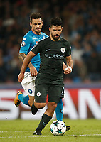 Football Soccer: UEFA Champions League Napoli vs Mabchester City San Paolo stadium Naples, Italy, November 1, 2017. <br /> Manchester City's Sergio Aguero is going to score during the Uefa Champions League football soccer match between Napoli and Manchester City at San Paolo stadium, November 1, 2017.<br /> UPDATE IMAGES PRESS/Isabella Bonotto