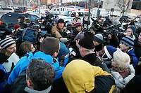 Jeff Kolodajy, one of the 155 survivors of US Airways Flight 1549, speaks to the media. The Airbus A320 was en route to Charlotte, North Carolina from LaGuardia Airport when it hit a flock of birds and crashed in the Hudson River near 56th Street. It then floated down the river to Battery Park City.