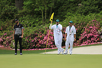 Dustin Johnson (USA) on the 13th green during the final round at the The Masters , Augusta National, Augusta, Georgia, USA. 14/04/2019.<br /> Picture Fran Caffrey / Golffile.ie<br /> <br /> All photo usage must carry mandatory copyright credit (© Golffile | Fran Caffrey)