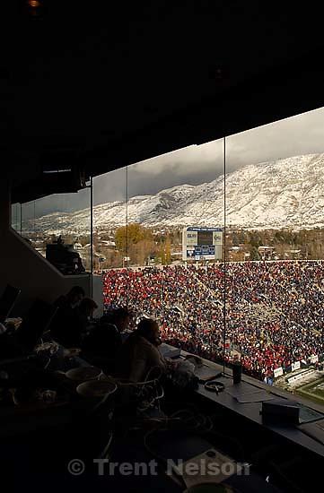 view from the press box. Provo - Utah beats BYU 3-0. BYU vs. Utah football Saturday at LaVell Edwards Stadium.<br />
