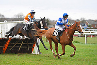 Winner of The Extech Cloud-Humanising It Handicap HurdleHawthorn Cottage ridden by Lucy K Barry and trained by Amy Murphy jumps the last behind Sirop De Menthe ridden by Lucy Garner during Horse Racing at Plumpton Racecourse on 10th February 2020