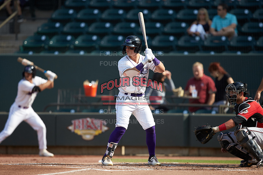 Steele Walker (6) of the Winston-Salem Dash at bat against the Carolina Mudcats at BB&T Ballpark on June 1, 2019 in Winston-Salem, North Carolina. The Mudcats defeated the Dash 6-3 in game one of a double header. (Brian Westerholt/Four Seam Images)