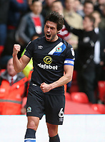 Blackburn Rovers' Jason Lowe celebrates the only goal of the match scored by team-mate Tommie Hoban<br /> <br /> Photographer Stephen White/CameraSport<br /> <br /> The EFL Sky Bet Championship - Nottingham Forest v Blackburn Rovers - Friday 14th April 2016 - The City Ground - Nottingham<br /> <br /> World Copyright &copy; 2017 CameraSport. All rights reserved. 43 Linden Ave. Countesthorpe. Leicester. England. LE8 5PG - Tel: +44 (0) 116 277 4147 - admin@camerasport.com - www.camerasport.com