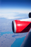 Virgin Atlantic Airways 747-400s aircraft powered by  GE CF6-80C jet engines over Greenland