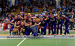 GER - Luebeck, Germany, February 07: Players of Mannheimer HC receive their trophy after winning the Deutsche Meisterschaft before the prize giving ceremony at the Final 4 on February 7, 2016 at Hansehalle Luebeck in Luebeck, Germany. (Photo by Dirk Markgraf / www.265-images.com) *** Local caption ***
