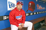 10/17/08 2:44:32 PM -- Philadelphia, PA, U.S.A. -- Philadelphia Phillies Shane Victorino poses for a photo in the Phillies dugout after practice October 17, 2008 at Citizen's Bank Park in Philadelphia, Pennsylvania. Victorino showed the team that cast him aside that it made a costly error. The Philadelphia outfielder, who spent six years in the L.A. Dodgers' farm system, used key hits in pressure situations, including a triple, Game 4 eighth-inning homer and six RBI during the NLCS, to help the Phillies beat the Dodgers and reach their first World Series since 1993. -- ...Photo by William Thomas Cain/cainimages.com.