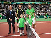 13-02-11Tennis, Rotterdam, ABNAMROWTT, De finalisten Jo Wilfried Tsonga (R) en Robin Soderling poseren met hus players escort