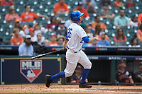 Luke Heyer (26) of the Kentucky Wildcats follows through on his swing against the Sam Houston State Bearkats during game four of the 2018 Shriners Hospitals for Children College Classic at Minute Maid Park on March 3, 2018 in Houston, Texas. The Wildcats defeated the Bearkats 7-2.  (Brian Westerholt/Four Seam Images)