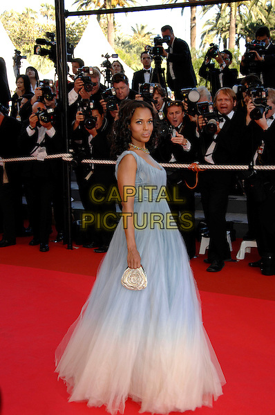 "KERRY WASHINGTON.Premiere of ""Zodiac"" at the 60th International Cannes Film Festival, Cannes, France.May 17th, 2007.full length blue white fade purse bag sheer dress chiffon gown .CAP/PL.©Phil Loftus/Capital Pictures"