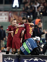Football Soccer: UEFA Champions League AS Roma vs Chelsea Stadio Olimpico Rome, Italy, October 31, 2017. <br /> Roma's Diego Perotti celebrates with his teammates after scoring during the Uefa Champions League football soccer match between AS Roma and Chelsea at Rome's Olympic stadium, October 31, 2017.<br /> UPDATE IMAGES PRESS/Isabella Bonotto