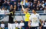 ***BETALBILD***  <br /> Stockholm 2015-07-30 Fotboll Kval Uefa Europa League  AIK - Atromitos FC :  <br /> AIK:s Dickson Etuhu f&aring;r ett gult kort och varning av domare Christian Dingert (GER) under matchen mellan AIK och Atromitos FC <br /> (Foto: Kenta J&ouml;nsson) Nyckelord:  AIK Gnaget Tele2 Arena UEFA Europa League Kval Kvalmatch Atromitos FC Grekland Greece varning gult kort diskutera argumentera diskussion argumentation argument discuss arg f&ouml;rbannad ilsk ilsken sur tjurig angry