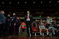 28th November 2019; Emirates Stadium, London, England; UEFA Europa League Football, Arsenal versus Frankfurt; Arsenal Manager Unai Emery looks up at the scoreboard - Editorial Use